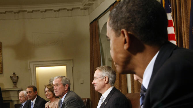 "** HOLD FOR RELEASE UNTIL 12:01 AM EST TUESDAY NOV. 30, 2010 ** FILE - In this Sept. 25, 2008, file photo President Bush, center, meets with congressional leaders, including Republican presidential candidate Sen. John McCain, R-Ariz., left, and Democratic presidential candidate Sen. Barack Obama, D-Ill., right, in the White House Cabinet Room to discuss the proposed bailout of the financial industry. Of the meeting Bush wrote in his memoir, ""what had started as a drama quickly descended into a farce. Tempers flared. Voices were raised. Some barbs were thrown. I was watching a verbal food fight, which would have been comical except that the stakes were so high."" From left, McCain, Minority Leader John A. Boehner, R-Ohio, Speaker of the House Nancy Pelosi, D-Calif., and Senate Majority Leader Sen. Harry Reid, D-Nev. (AP Photo/Pablo Martinez Monsivais, File)"