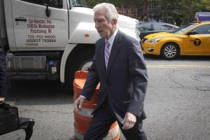U.S.-court appointed mediator Daniel Pollack arrives at federal court for a hearing on Argentina's debt crisis, in New York