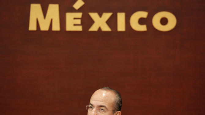 FILE - In this March 24, 2011 file photo, Mexico's President Felipe Calderon attends an event at Los Pinos presidential residence in Mexico City. Calderon is personally trying to change his country's violent reputation by appearing as a sort of adventure tour guide in a series of TV programs to be broadcast starting in September on Public Broadcasting Service stations in the United States and plans to attend the show's premiere in New York.  (AP Photo/Eduardo Verdugo, File)