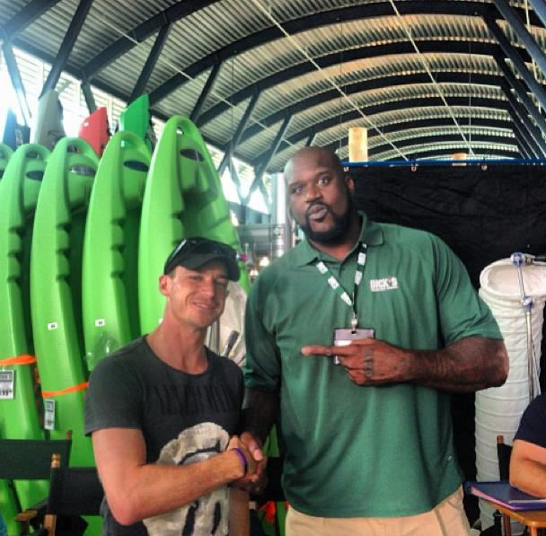 Dale Steyn with basketball star Shaquille O'Neal on the sets of The Familymoon. Photo via http://instagram.com/dalesteyn