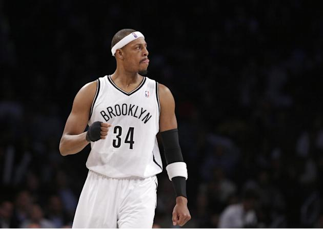 Brooklyn Nets forward Paul Pierce (34) reacts during the second half of the Nets 102-93 victory over in the Los Angeles Clippers in their NBA basketball game at the Barclays Center, Thursday, Dec. 12,