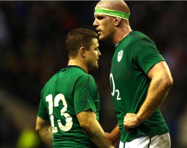 Ireland's O'Connell and O'Driscoll react after being defeated by England in their Six Nations Championship rugby union match at Twickenham in London