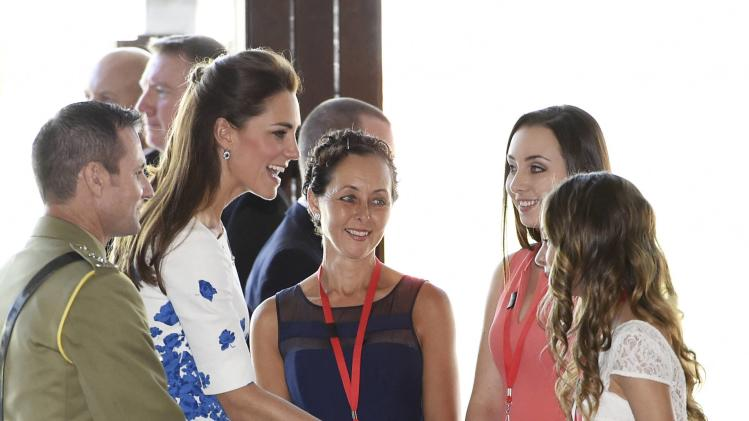 Catherine, Duchess of Cambridge meets with families members of military service personnel who have died during recent conflicts, at RAAF Base Amberley