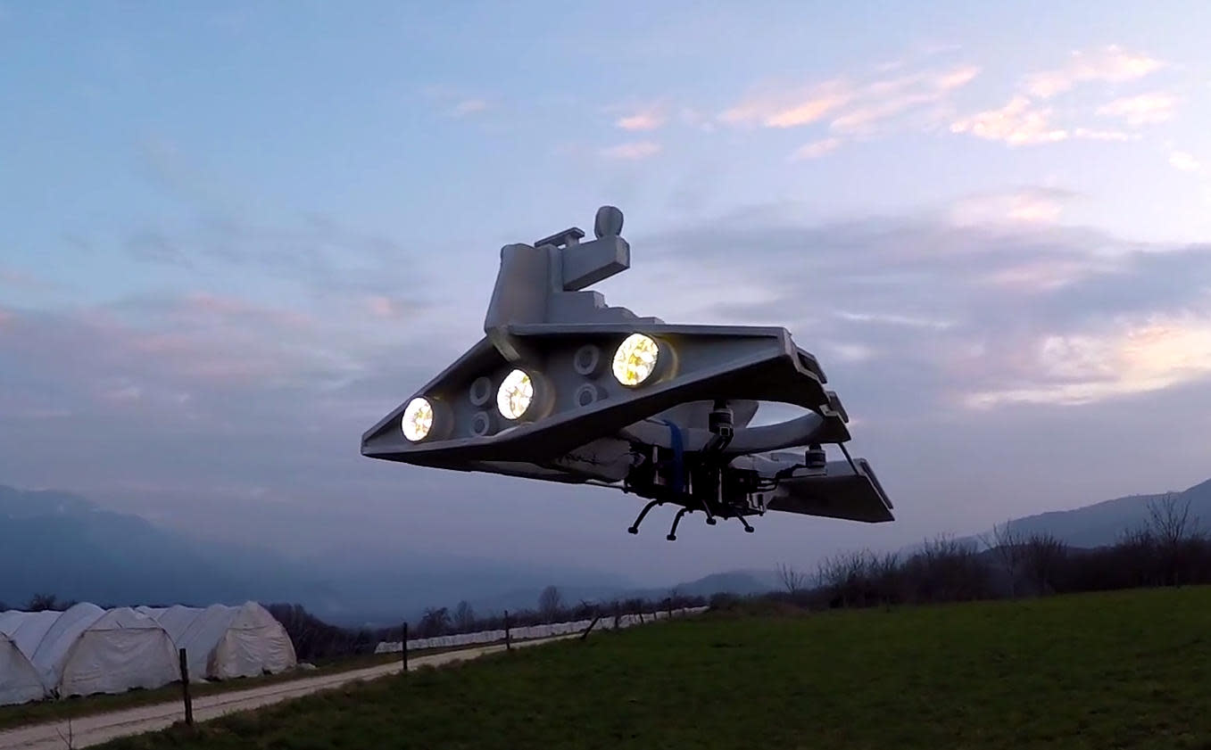 Imperial Star Destroyer drone patrols the skies above France