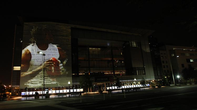 Redskins quarterback Robert Griffin III is featured in adidas' adizero projection on Thursday, Aug. 23, 2012 at the Newseum in Washington, D.C. (Photo by Paul Morigi/Invision for adidas/AP Images)