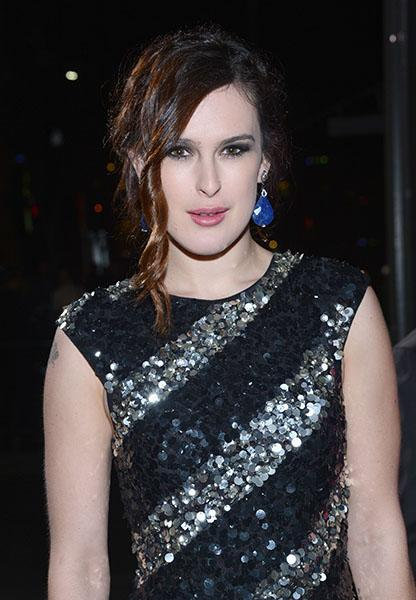 Rumer Willis wearing dizzying blue drops