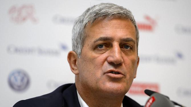 Switzerland's Bosnian new coach Vladimir Petkovic answers to questions after he named his squad to face England in their opening football Euro 2016 qualifying match Switzerland against England during a press conference on August 29, 2014 in Lucerne