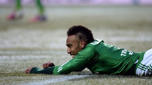 FOOTBALL Saint-Etienne's Gabonese forward Pierre-Emerick Aubameyang