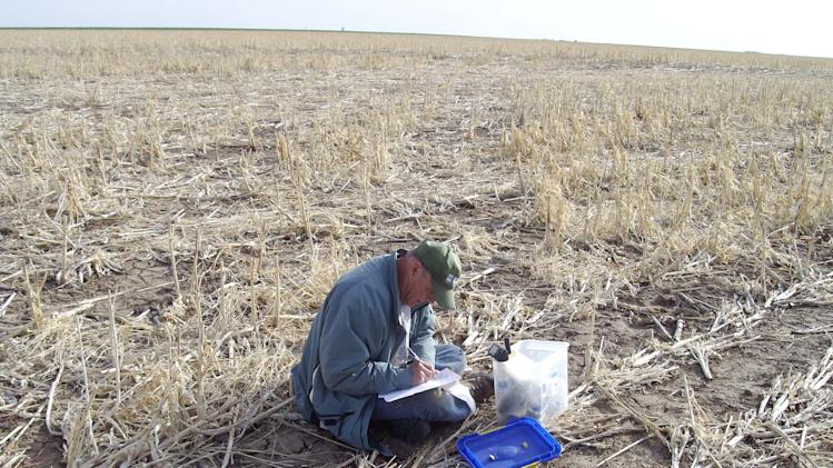 In this photo taken April 16, 2008, and provided by the U.S. Geological Survey, geologist Jim Kilburn, now retired from the U.S. Geological Survey, collects soil from Kansas. The federal government sent students and scientists to more than 4,800 places across the nation to collect soil that was analyzed for its composition. The results are now highly sought after by researchers in a wide variety of fields. (AP Photo/U.S. Geological Survey)