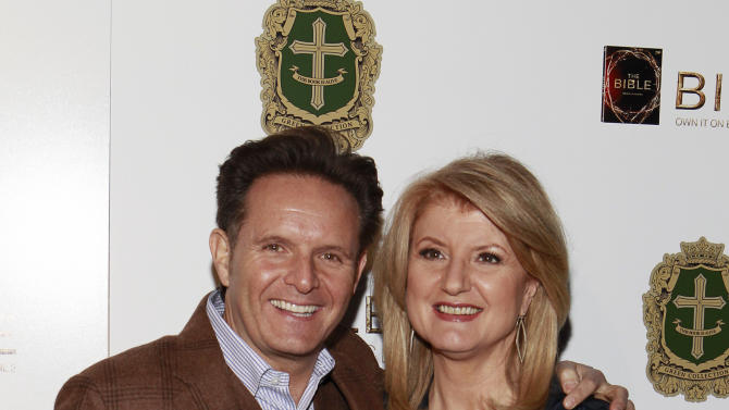 Producer Mark Burnett and Arianna Huffington attend the celebration of the April 2 Blu-ray, DVD, and Digital HD release of THE BIBLE from Twentieth Century Fox Home Entertainment  during The Bible Experience opening night gala, a rare exhibit of biblical artifacts on Tuesday, March 19 in New York. (Photo by Mark Von Holden/Invision for Fox Home Entertainment/AP Images)