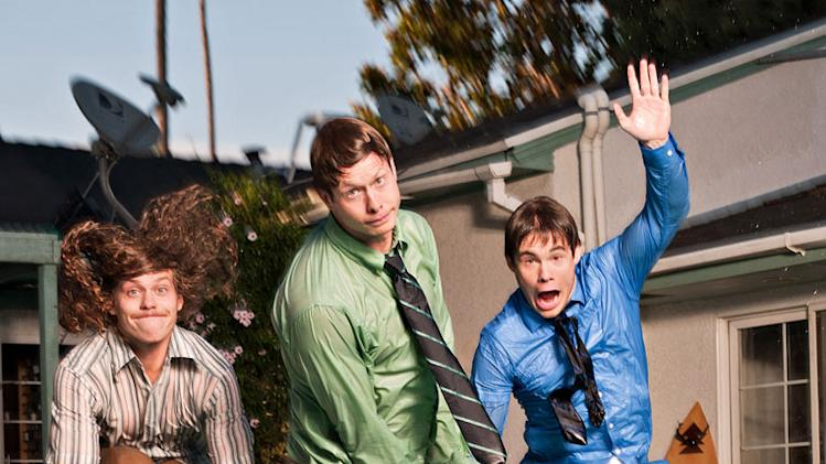 "Blake Anderson, Anders Holm, and Adam Devine star in ""Workaholics."""
