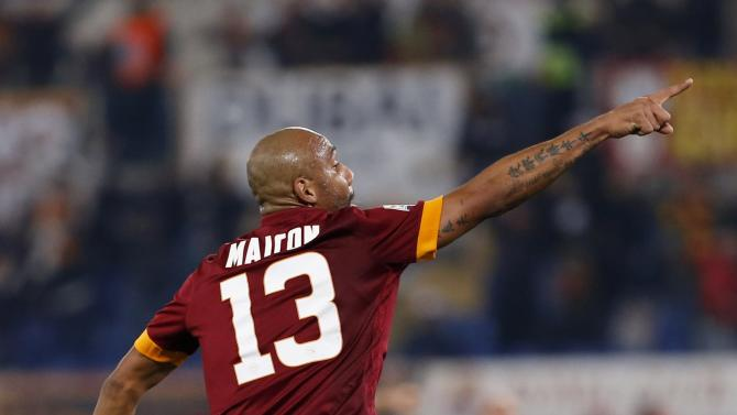 AS Roma's Maicon celebrates after scoring against Empoli during their Italian Serie A soccer match against in Rome