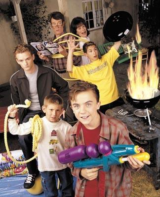 Clockwise from top: Bryan Cranston as Hal, Jane Kaczmarek as Lois, Justin Berfield as Reese, Frankie Muniz as Malcolm, Erik Per Sullivan as Dewey, and Christopher Masterson as Francis on Fox's Malcolm In The Middle