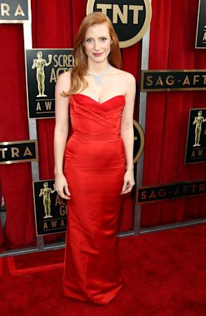 Actress Jessica Chastain arrives at the 19th Annual Screen Actors Guild Awards at the Shrine Auditorium in Los Angeles on Sunday, Jan. 27, 2013. (Photo by Matt Sayles/Invision/AP)