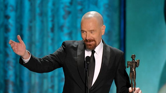 """Bryan Cranston accepts the award for outstanding male actor in a drama series for """"Breaking Bad"""" at the 19th Annual Screen Actors Guild Awards at the Shrine Auditorium in Los Angeles on Sunday Jan. 27, 2013. (Photo by John Shearer/Invision/AP)"""