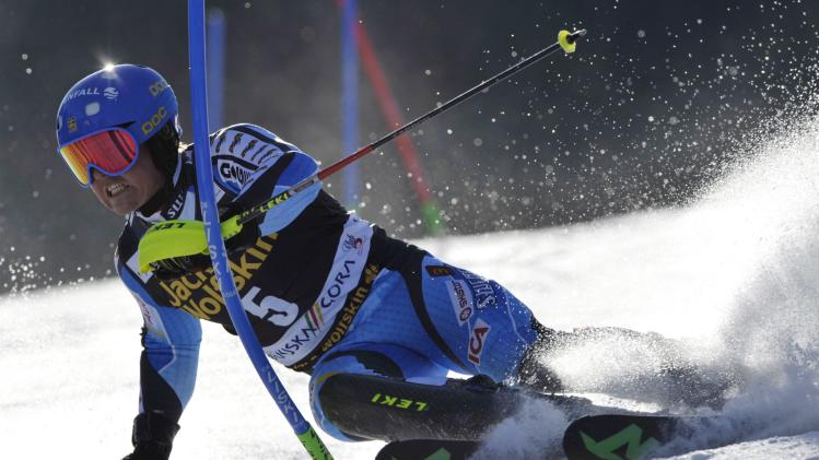 Hargin of Sweden clears a gate during the first run of the Alpine Skiing World Cup men's slalom ski race in Kranjska Gora