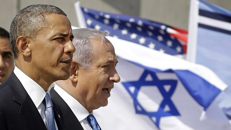 President Barack Obama and Israeli Prime Minister Benjamin Netanyahu tour the Iron Dome Battery defense system, at Ben Gurion International Airport in Tel Aviv, Israel, Wednesday, March 20, 2013, (AP Photo/Pablo Martinez Monsivais)