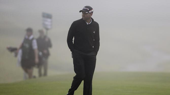 Sergio Garcia, of Spain, walks to the eighth green in the first round of the Northern Trust Open golf tournament at Riviera Country Club in the Pacific Palisades area of Los Angeles, Thursday, Feb. 14, 2013. (AP Photo/Reed Saxon)