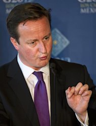United Kingdom Prime Minister David Cameron delivers a speech at the end of the G20 Summit of Heads of State and Government in Los Cabos, Baja California, Mexico on June 19, 2012. The leaders of the world's most powerful economies met for a G20 summit confronted by turmoil in the eurozone, a critical election in Greece and worsening bloodshed in Syria. AFP PHOTO / OMAR TORRES