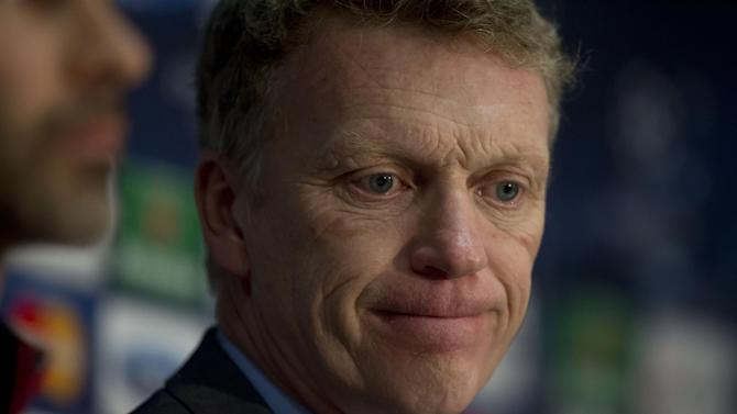 Manchester United's manager David Moyes speaks during a press conference at Old Trafford Stadium, Manchester, England, Monday, March 31, 2014. Manchester United will play Bayern Munich in a Champions League quarter final first leg soccer match on Tuesday. (AP Photo/Jon Super)