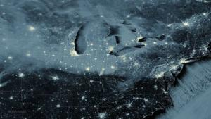 Snow cover and clouds from the Great Lakes to the Mid-Atlantic…