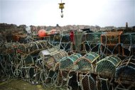 Crab and lobster pots dry out on quayside in Whitby, northern England February 26, 2013. Whitby, once a busy fishing port, is now a shadow of its former self. REUTERS/Dylan Martinez