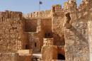 In this picture released on Friday, May 22, 2015 by the website of Islamic State militants, shows the Islamic State militants flag, top center, raised on the to top of Palmyra castle, in the Syrian town of Palmyra, Syria. A Syrian official in charge of antiquities says Islamic State fighters have broken into the museum of the ancient town of Palmyra which they have captured days earlier, but have not harmed its contents. (The website of Islamic State militants via AP)