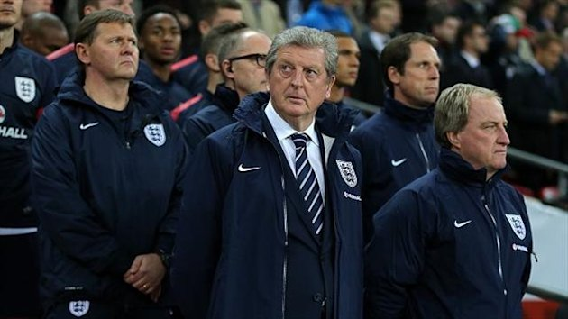 Roy Hodgson, centre, has become the sixth Englishman to successfully coach England through a World Cup qualifying campaign