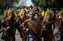 Brazilian Pataxo natives sing at the People&#039;s Summit in Rio de Janeiro