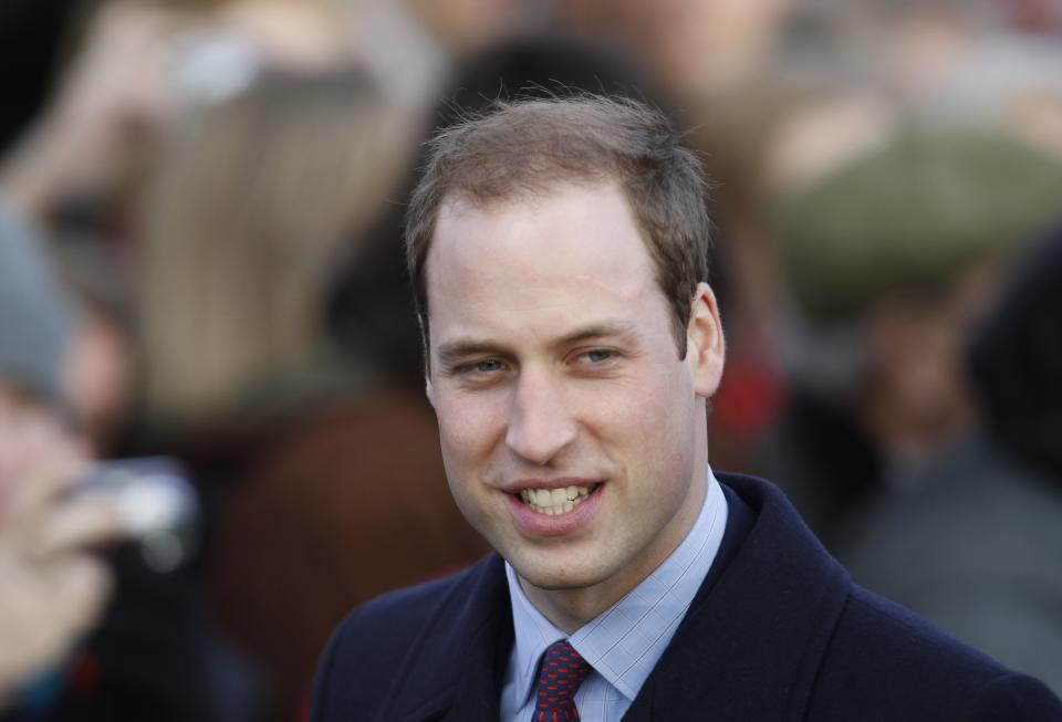 Britain's Prince William and other members of Britain's royal family arrive for a Christmas Service at St. Mary's church on the grounds of Sandringham Estate, the Queen's Norfolk retreat, England, Sunday, Dec. 25, 2011. (AP Photo/Lefteris Pitarakis)