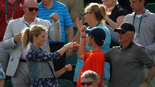 Andy Roddick's wife Brooklyn Decker celebrates after Andy won his Gentlemen's Singles second round match against Bjorn Phau of Germany on day four of the Wimbledon Lawn Tennis Championships at the All England Lawn Tennis and Croquet Club on June 28, 2012 in London, England. (Photo by Paul Gilham/Getty Images)