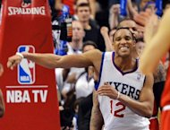 Evan Turner of the Philadelphia 76ers celebrates his team&#39;s 79-74 win over the Chicago Bulls in game three of the Eastern Conference first-round NBA playoff series on May 4