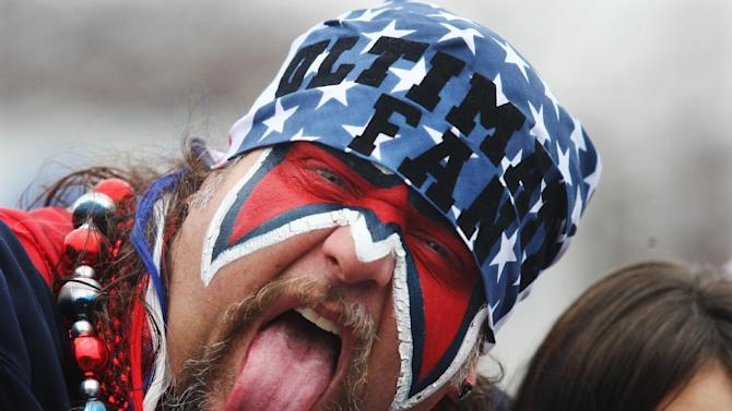 A Houston Texans' fan makes faces before an NFL wild card playoff football game against the Cincinnati Bengals Saturday, Jan. 5, 2013, in Houston. (AP Photo/Patric Schneider)