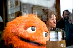 Director Chris Morris and the Honey Monster. Drafthouse Films
