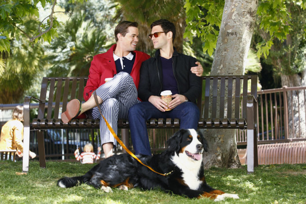 This image released by NBC shows Andrew Rannells as Bryan, left, and Justin Bartha as David in a scene from &quot;The New Normal,&quot; premiering Sept. 11, 2012 at 9:30p.m. EST on NBC. A Mormon church owned NBC affiliate in Utah has rejected &quot;The New Normal,&quot; the sitcom about a single mother&#39;s journey through life as a surrogate for a gay couple. NBC introduced the sitcom to American audiences earlier this month in a two-minute preview during coverage of the London Olympics. &quot;For our brand, this program simply feels inappropriate on several dimensions, especially during family viewing time,&quot; says Jeff Simpson, CEO of KSL parent company Bonneville International, which is owned by The Church of Jesus Christ of Latter-day Saints. (AP Photo/NBC, Trae Patton)