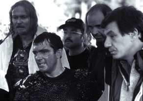 Dennis Storhoi, Antonio Banderas and director John McTiernan on the set of The 13th Warrior