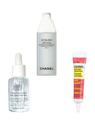 KIEHL'S CLEARLY CORRECTIVE DARK SPOT SOLUTION, $50, KIEHLS.COM. CHANEL LE BLANC BRIGHTENING CONCENTRATE CONTINUOUS ACTION TXC, $195, CHANEL.COM. GOOD SKIN LABS EQUINOL DARK SPOT CONCENTRATE, $40, KOHLS​.COM