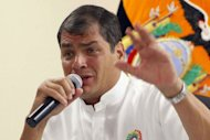 <p>Ecuadorean President Rafael Correa speaks during a press conference in Guayaquil, Ecuador, on August 14, 2012, during which he addressed the issue of Wikileaks founder Julian Assange, and stated that he has not yet reached a decision on whether to grant him aslyum.</p>