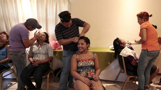"A cancer patient prepares for her ""Quinceanera"" (15th birthday) party at a hotel in Managua"