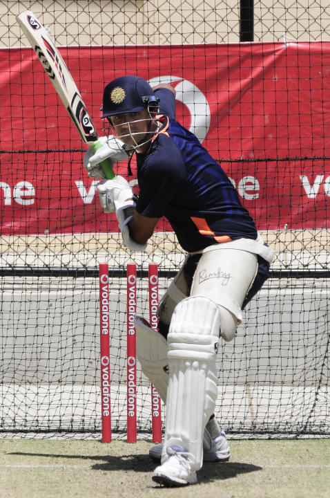 India's Rahul Dravid  trains at the nets before the opening day of cricket against Australia in Adelaide, Australia, Monday, Jan. 23, 2012. (AP Photo/David Mariuz)