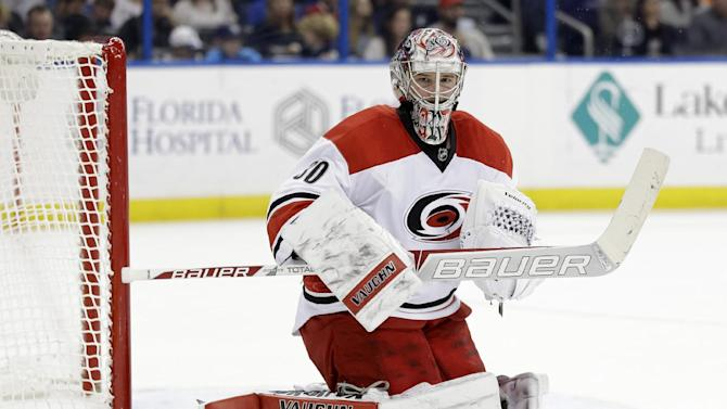 Carolina Hurricanes goalie Cam Ward (30) makes a save on a shot by the Tampa Bay Lightning during the second period of an NHL hockey game Saturday, Dec. 27, 2014, in Tampa, Fla. (AP Photo/Chris O'Meara)