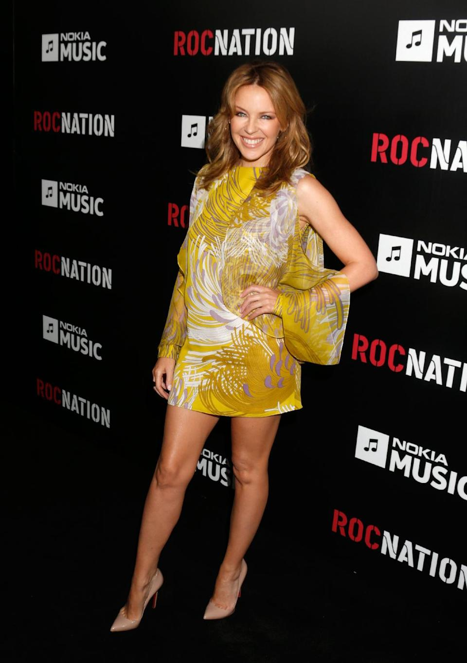 Kylie Minogue arrives at Roc Nation's Pre-Grammy Brunch at the Soho House on Saturday, Feb. 9, 2013 in Los Angeles. (Photo by Todd Williamson/Invision/AP)