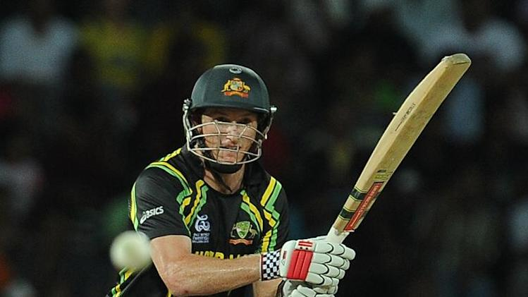 Australian batsman George Bailey plays a shot during the World Twenty20 semi-final against the West Indies in Colombo, on October 5, 2012