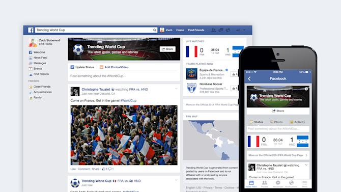 "This undated image provided by Facebook shows the social network's ""Trending World Cup"" special feature. Available on the Web as well as mobile devices, the hub will include the latest scores, game highlights as well as a feed with tournament-related posts from friends, players and teams. (AP Photo/Facebook)"