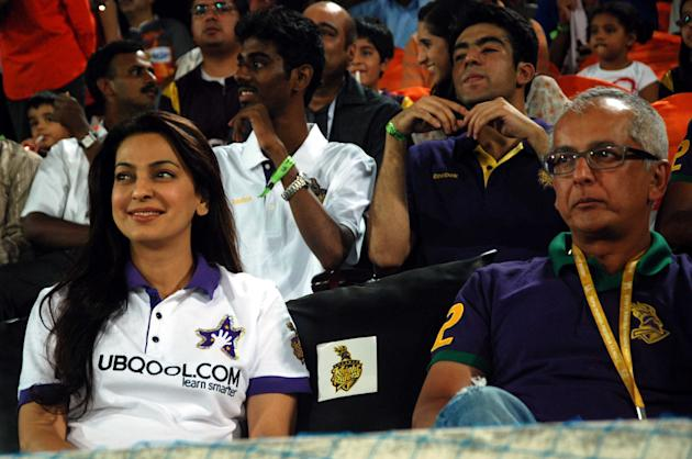 Juhi Chawla, co-owner Kolkata Knight Riders during the match between Sunrisers Hyderabad and Kolkata Knight Riders at Rajiv Gandhi International Cricket Stadium, Uppal in Hyderabad (Deccan) on May 19,