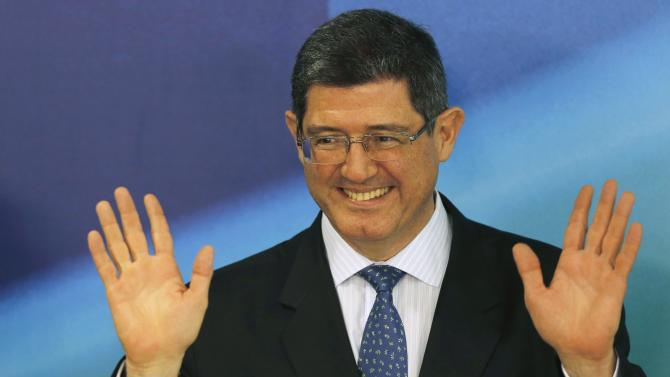 Levy reacts during a news conference in Brasilia