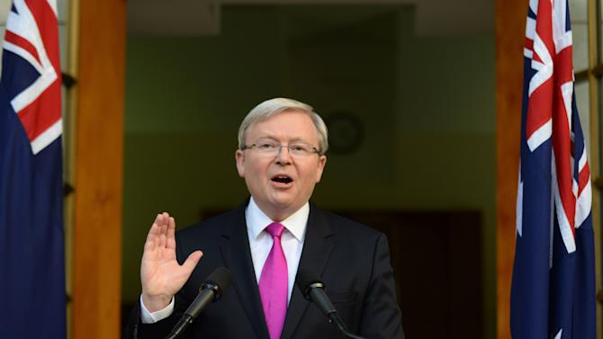 Australia's Prime Minister Kevin Rudd speaks during a press conference at the Parliament House in Canberra, Sunday, Aug. 4, 2013. Prime Minister Rudd called an election on Sept. 7 and said Sunday that it will be fought over who can be trusted to manage the Australian economy as it transitions from a decade-old mining boom fed by Chinese industrial demand that is now fading.(AP Photo/AAP, Lukas Coch) AUSTRALIA OUT