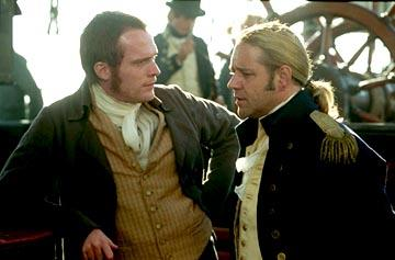 Paul Bettany as Dr. Maturin and Russell Crowe as Captain Jack Aubrey in 20th Century Fox's Master and Commander: The Far Side of The World