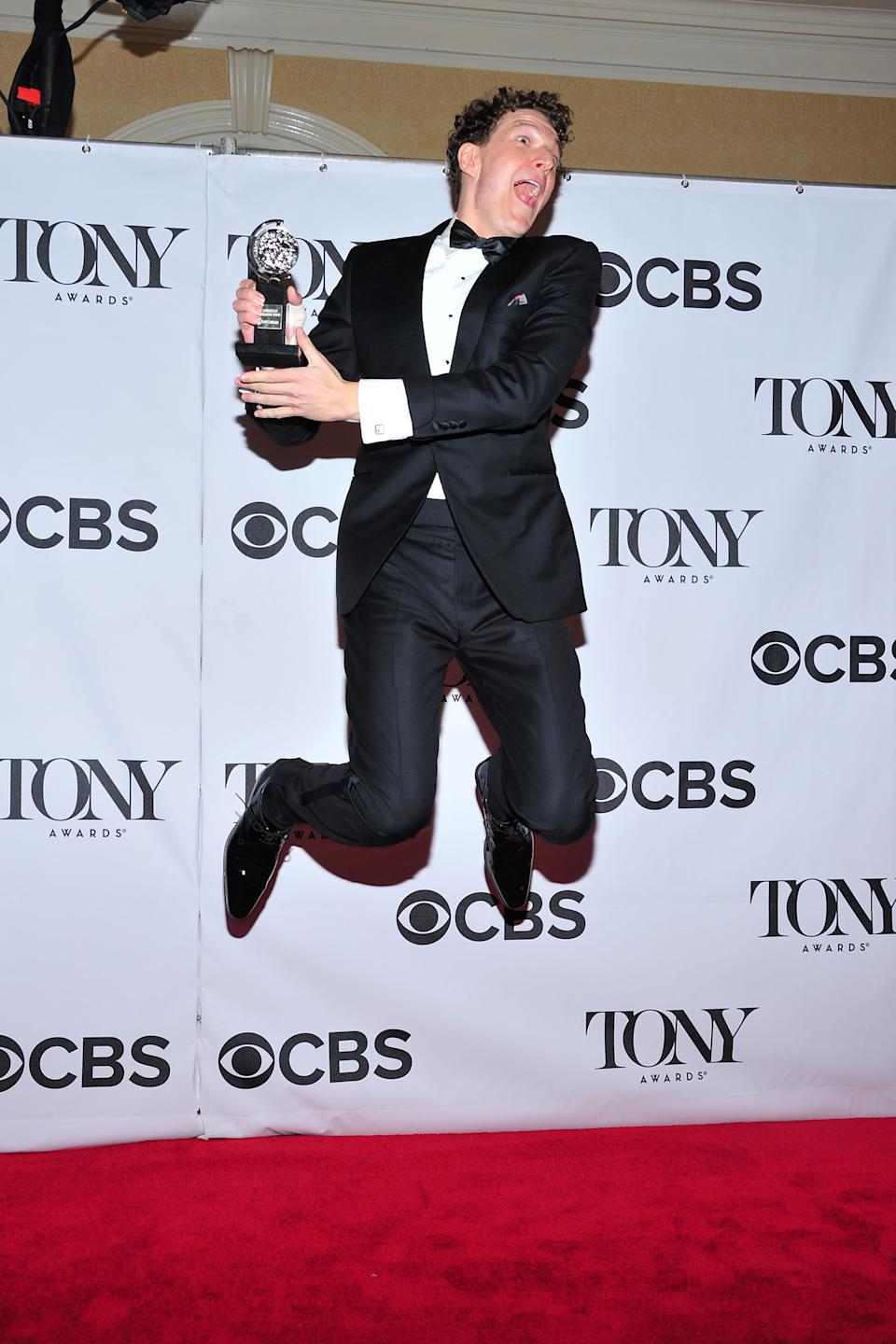 "Gabriel Ebert poses with his award for best performance by an actor in a featured role in a musical, for "" Matilda the Musical"" in the press room at the 67th Annual Tony Awards, on Sunday, June 9, 2013 in New York. (Photo by Charles Sykes/Invision/AP)"