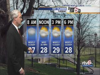 Temps dip to 20s Tuesday